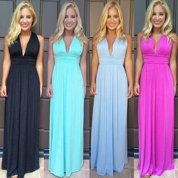 Sexy Women Summer Boho Long Maxi Evening Party Dress Beach Dresses bodycon Dress = 1946205252