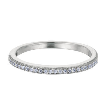 Sterling Silver Rhodium Finish Milgrain Stackable Ring With Pave' Set Cz Stones