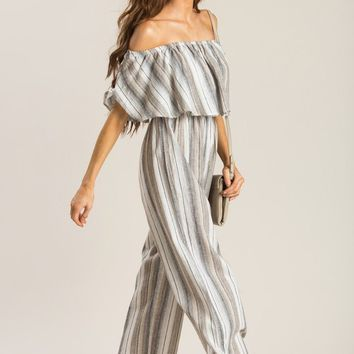 Brandy Striped Off the Shoulder Jumpsuit