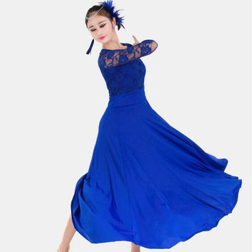 7 colors big wing blue ballroom dance dress for ballroom dancing waltz tango Spanish flamenco dress standard ballroom dress