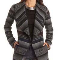 Belted Woven Stripe Wrap Coat by Charlotte Russe - Black Combo