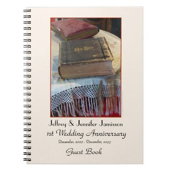 1st Anniversary Party Guest Book, Vintage Bible Notebook