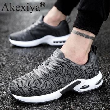 Akexiya Men Women Air Cushion Shoes Fly Weave Breathable Running Shoes For Woman Male Outdoor Sport Sneakers zapatillas mujer