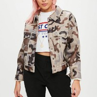 Missguided - Brown Camo Borg Trucker Jacket