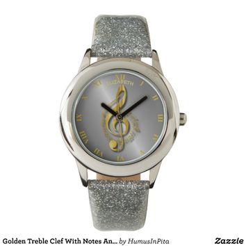 Golden Treble Clef With Notes And Shadows Watches