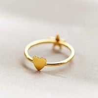 Heart & Star Delicate Ring- Gold