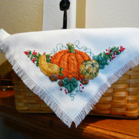 Fall Harvest Cross Stitched Basket Liner -  Bread Cloth - fall decor - Autumn - gift basket accessory - shelf accent