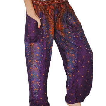 Purple Peacock Harem Pants