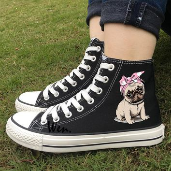 Wen Athletic Sneakers Black White Colors Woman Design Cute Pet Pug Dog Pink Bow With Headband High Top Canvas Girl Outdoor Shoes