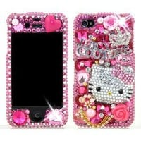 3D Swarovski Pink Hello Kitty Crystal Bling Case Cover for iphone 4 / 4S AT&T Verizon & Sprint