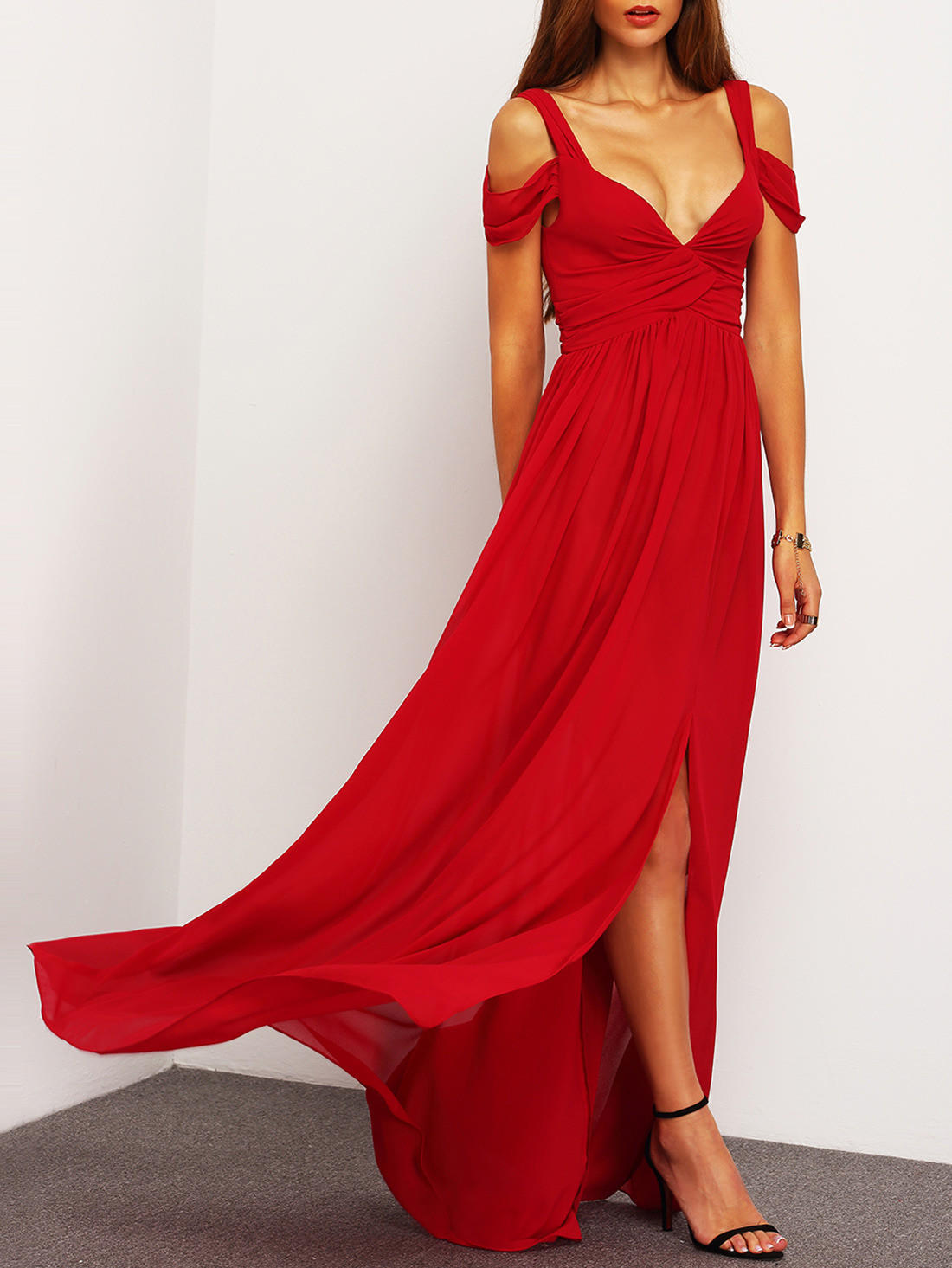 0793e011e8 ♡ Red Off The Shoulder Maxi Dress ♡ from Crystalline