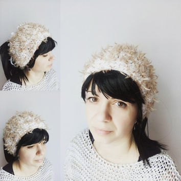 Fur Ponytail Hat - White Messy Bun Hat - Ponytail Bun Beanie - Hat Women - Open Top Hat - Tube Hat Tam Hat - Dreadlocks wide Wrap