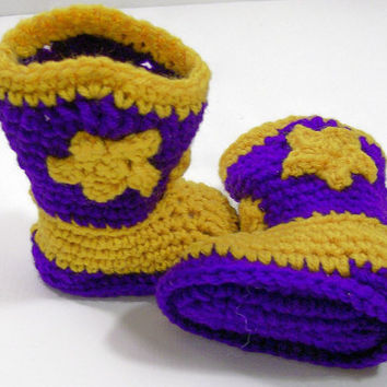 Baby Cowboy Boots- Purple Gold--LSU Colors----Crochet --Made in the USA--Baby Shower Gift