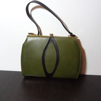 Vintage Olive Green Structured Handbag with Black Oval Design & Handle and Gold Tone Accents