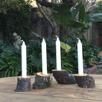 Rustic Candle Holder, Reclaimed Tree Branch Candle Holders, Woodland Table, Rustic Wedding Decor, Rustic 4 PC Candle Holder set, Cabin Decor