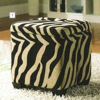 Khaki and Zebra print fabric upholstered foldable square storage ottoman with wood feet
