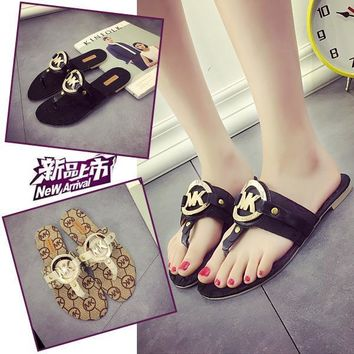 Stylish Design Korean Metal Summer Flat Sandals [415632392228]