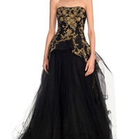 Tulle Ball Gown With Structured Bodice by Marchesa for Preorder on Moda Operandi