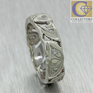 1930s Antique Art Deco 14k White Gold 5mm Wide Heart Diamond Wedding Band Ring