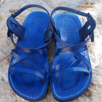 blue leather sandals for women blue sandals | strappy sandals | greek sandals | summer sandals | flat sandals handmade sandals