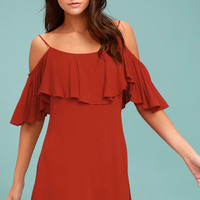 Sweet Treat Rust Red Off-the-Shoulder Dress