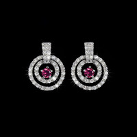 Micro paved in a circles ruby main stone top quality Cubic Zirconia earrings retro style white gold plated, AE0052A