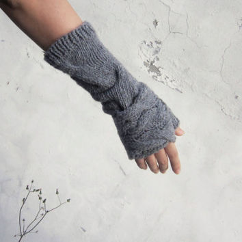 Fingerless warmers set/ Grey Fingerless gloves set/ by Nawanowe