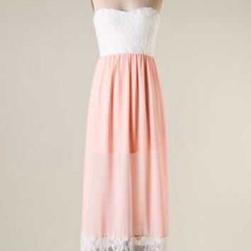 Whimsical Enchantment Strapless Lace Color Block Maxi Dress in Blush | Sincerely Sweet Boutique