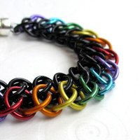 Rainbow chainmail bracelet GSG weave by TattooedAndChained on Etsy