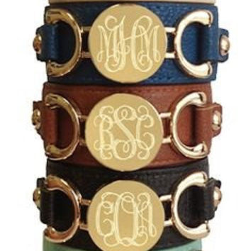 Personalized Monogram Leather Cuff Bracelet/Bridesmaid Gift/Birthday Gift