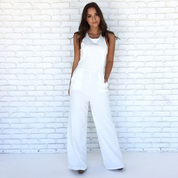 Cut Out For It Jumpsuit in White