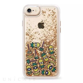For iPhone X XR XS Max 8 7 6 6S Plus Minion Pineapple Fries Chips Emoji Heart Dynamic Cascading Glitter Case