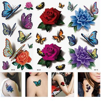 (Set of 3 Sheets) Butterfly Flower Temporary Tattoos