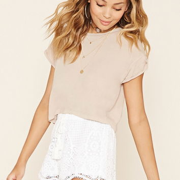 Floral Lace Drawstring Shorts
