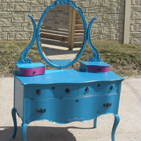 Vintage Teal Dresser with Pink Accented Lined Drawers