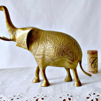 Mid Century Ornate Brass Elephant, Etched Brass Animal, Collectible Elephant Figurine, Elephant Paperweight, Bohemian Mothers Day Gift
