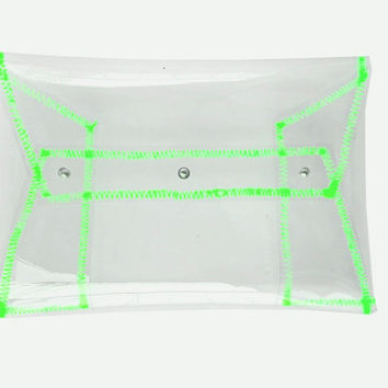 Clear clutch, clear handbag, clear purse, transparent envelope bag, security bag, neon bag, clear neon green bag, neon hanbags, summer bags