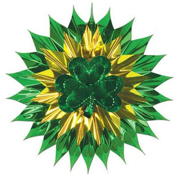 "Beistle 30517 15"" Green & Gold Shamrock Fan-Burst"
