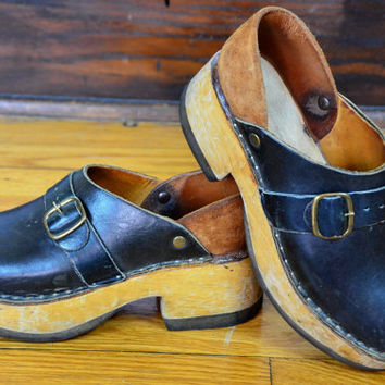 Vintage 70's Two Tone Leather Platform Bohemian Hippie Clogs, 7.5