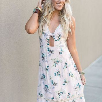 Floral Keyhole Midi Dress