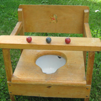 Vintage 1950s Child's Wooden Bunny Chair Potty - with Enamel Pot