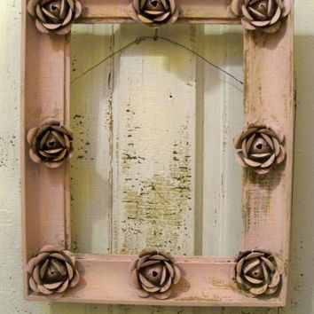 Up-cycled pink wall frame embellished with metal distressed roses shabby chic wall home decor Anita Spero