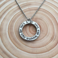 "Hand Stamped pewter Necklace, ""not all who wander are lost"", celtic style,moon and stars, Latin quote, personalised"