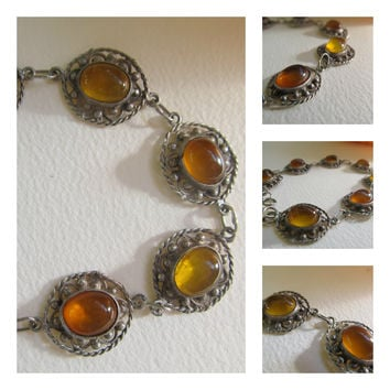 Vintage Orange Amber Cabachon Filigree Sterling Silver Bracelet