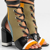 Pierre Hardy - Alchimia paneled leather, suede and canvas sandals