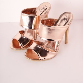SLIP ON MULES ROSE GOLD