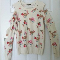 urban outfitters open cut sleeves floral sweater/top