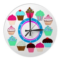 Cupcakes - White Background Blue Clock