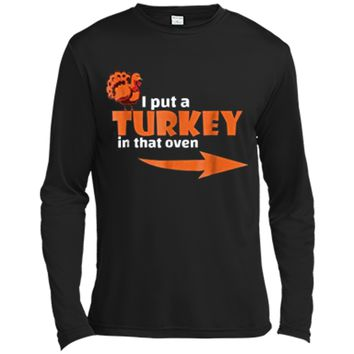 Thanksgiving Turkey  Expecting Dad Pregnant Wife Tee Long Sleeve Moisture Absorbing Shirt