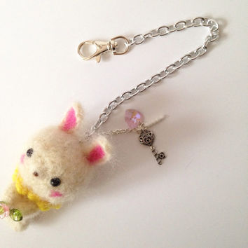 Cell Phone Accessory Cell phone Dust Plug Bag Charm Amigurumi Bunny Crochet Bunny Key Chain Headphone Jack Dust Plug Kawaii Gift Easter Gift